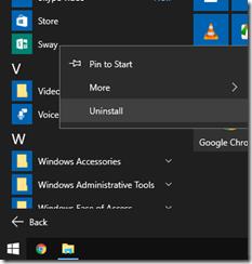 Windows 10 uninstall apps from start menu
