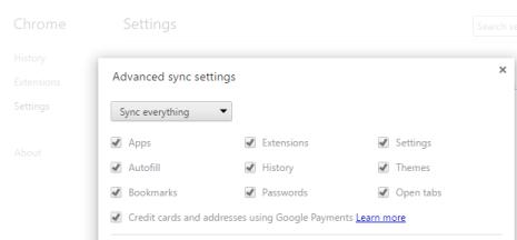 Google Chrome - advanced sync settings