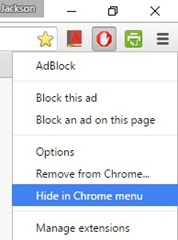Google Chrome - extensions - hide icon