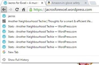 Google Chrome - tab history