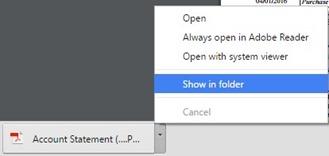 Google chrome - open file locatio of downloaded file