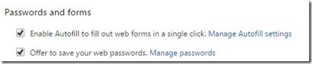 Google chrome - save passwords
