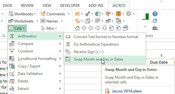 Jacros for Excel - swap month and day